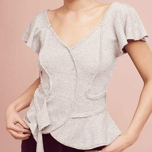 Anthropologie French Terry Cloth Ruffle Blouse